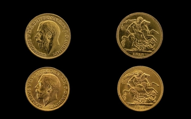 George V 22ct Gold Full Sovereigns (2) in total. Dates 1913 ...