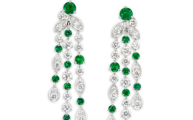 Graff, A Pair of Emerald and Diamond 'Rhythm' Ear Pendants, Graff