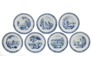 Group of seven Dutch Delft calendar plates Lampetkan Factory,...