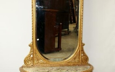 Italian gilt console with marble & mirror