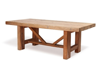 Jens Lyngsøe: A solid Pomeranian pinewood dining table. This example retailed 1980's by Anton Dam. H. 73. L. 200. W. 100 cm.