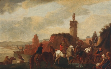 Johannes Lingelbach, style of, early 18th century: Coastal scenery with horseback riders. Unsigned. Oil on canvas. 39×58 cm.