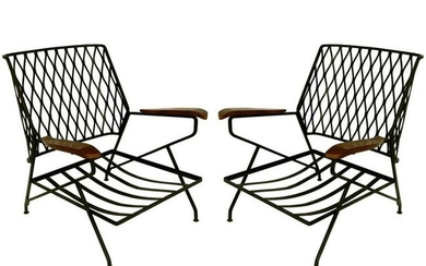 John S. Salterini Wrought Iron & Wood Armchairs,