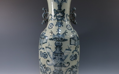 LARGE CHINESE ANTIQUE BLUE WHITE CELADON VASE - 19TH CENTURY