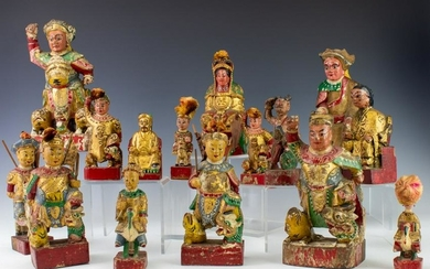 LOT 15 Asian Chinese Wood Polychrome Deity Figures