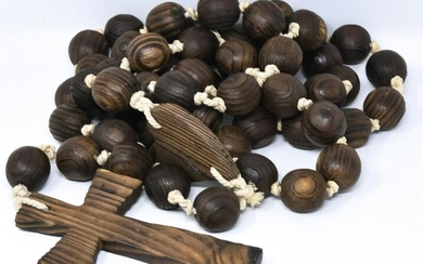 Large Antique Handmade Carved Wood Rosary Beads