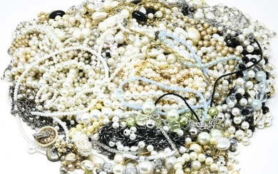 Large Lot of Faux Pearl Costume Jewelry