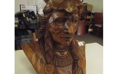 Large native American , well carved hardwood figure , heavy ...