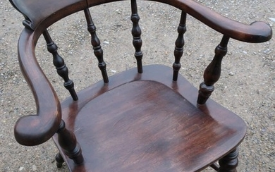 Late Victorian Captains style chair with turned supports and...