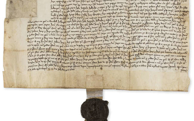 Lincolnshire.- Charter, grant by Edmund Oursby, Robert Naylar, Henry Craoroste and Hugh Massynberd to William Cawdron and Leonard Markham of the Manor of Wynohyll, manuscript in Latin, on vellum, Chancery Seal appended, Westminster, 10th July 1513.