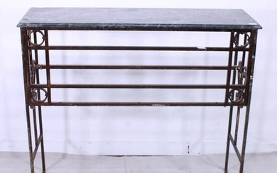 Marble Top Console with Vintage Iron Base #1