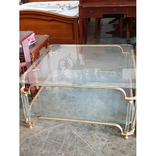 Modern Coffee Glass Table with Greek Style Ornate (91cm x 91...