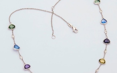 Necklace in white gold set with ten coloured...