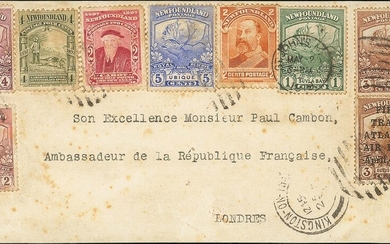 Newfoundland Airmails 1919 'Hawker' 3c. brown signed 'J.A.R.' on reverse, used in combination w...