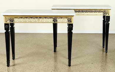 PAIR NEOCLASSICAL STYLE BRONZE CONSOLE TABLES
