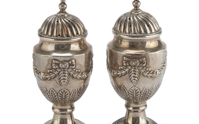 PAIR OF SILVER SALT CELLARS SHEFFIELD PUNCH 1897