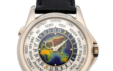 PATEK PHILIPPE, 18K WORLD TIME ENAMEL DIAL, REF. 5131G,