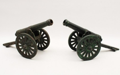 PR. OF CAST IRON CANNON MODELS; LATE 19TH/EARLY 20TH C.