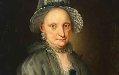 Painter unknown, late 18th century: Portrait of a noble lady wearing a hat and blue bow. Unsigned. Oil on canvas. 79×63 cm.
