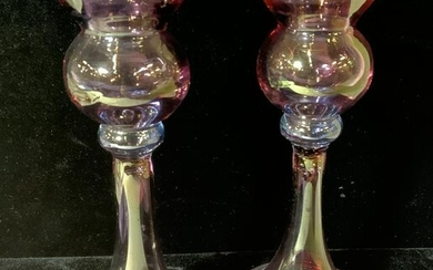 Pair LUSTERWARE Pink Art Glass Candlesticks
