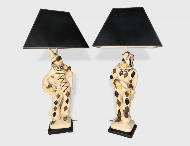 Pair Of Plaster Harlequin Lamps