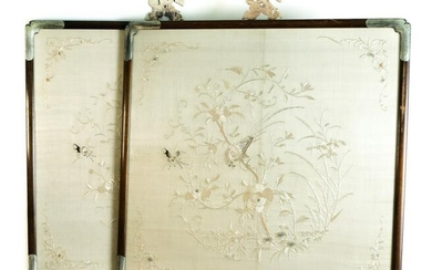 Pair, Oriental Silk Embroidered Tapestries Framed