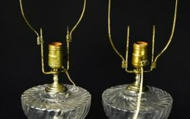 Pair Victorian Pressed Glass Converted Oil Lamps
