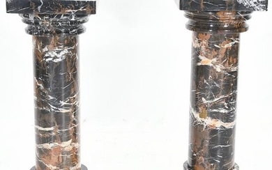 Pair of Black Amazonian Marble Columnar Pedestals.