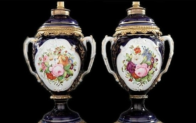 Pair of Bronze-Mounted Paris Porcelain Vases, Lamps