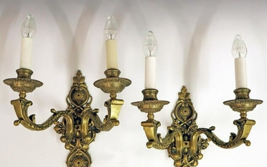Pair of Cast Bronze Wall Sconces
