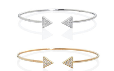 Pair of Gold and Diamond Open Cuff Bracelets