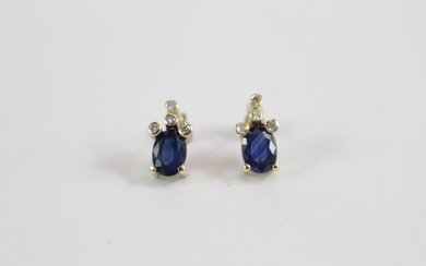 Pair of Ladies 9ct gold Sapphire and Diamond Set earrings of...