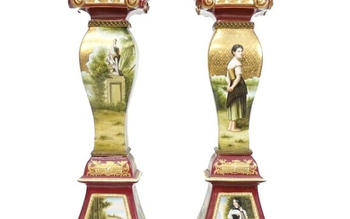 Pair of Limoges Sevres Style Pedestals