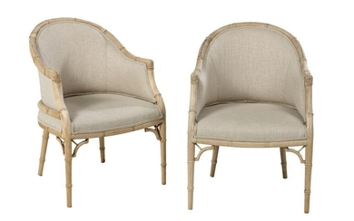 Pair of Regency-Style Faux Bamboo Armchairs