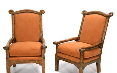 Pair of Victorian Style Oak and Suede Upholstered