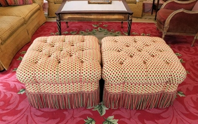 Pair of Victorian style tufted, upholstered Ottomans