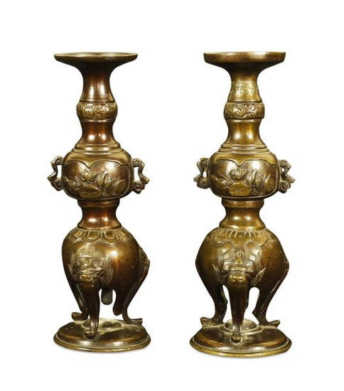Pair of bronze perfume burners with two small...
