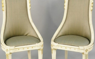 Pair of contemporary chairs. ht. 42 in., seat ht. 18