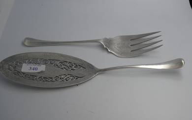 Pair of late Victorian cased fish servers by Mappin & Webb L...