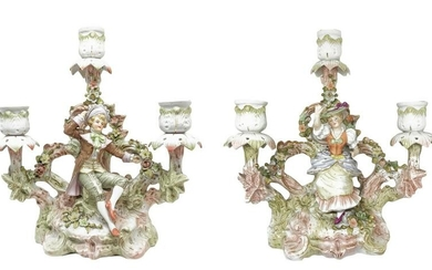 Pair of porcelain candlesticks with three lights