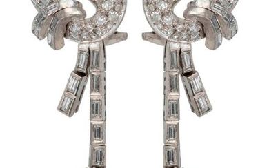 Pair of white gold earrings set with brilliants...