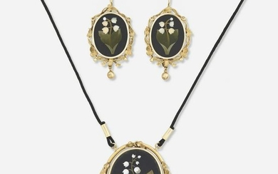 Pietra dura necklace and earring suite