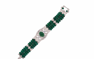 Platinum, Diamond, and Green Chalcedony Bracelet