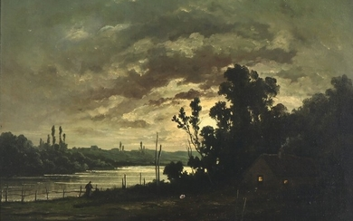 R. T. Stuart: Landscape with rowing boat and a house in the moonlight. Inscribed R. T. Stuart. Oil on canvas. 54×64.5 cm.