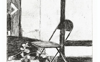 RICHARD DIEBENKORN (1922-1993), #38 (chair, potted plant, woman standing), from 41 Etchings Drypoints