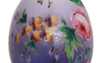RUSSIAN PORCELAIN EASTER EGG PAINTED WITH FLOWERS