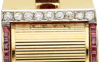 Retro Swiss Lady's Diamond, Ruby, Gold Covered Dial Watch...