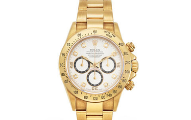 Rolex. An 18K gold and diamond automatic chronograph bracelet watch