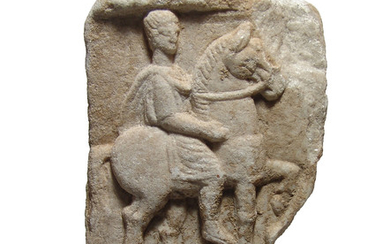 Romano-Thracian marble relief with horse and rider