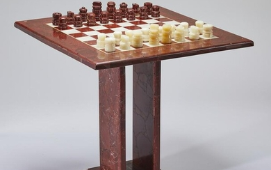 """Rouge marble and onyx chess table and pieces, 30""""h"""